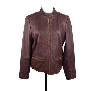 Michael Kors Maroon 100% Leather Jacket Large